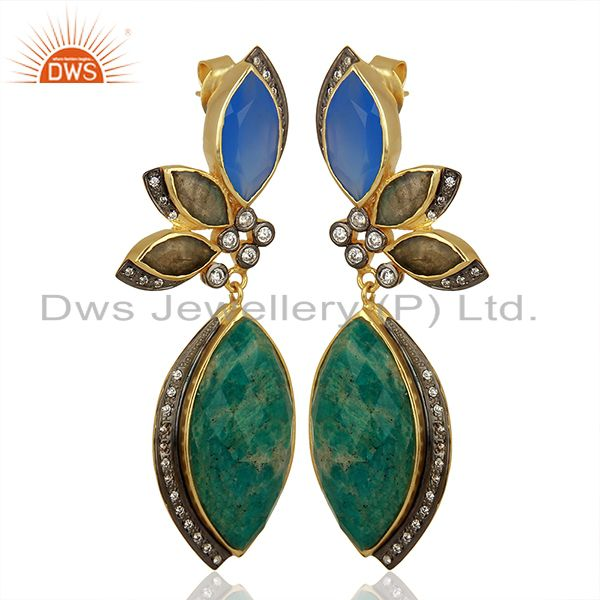 Exporter Designer Amazonite Gemstone Fashion Earrings Jewelry Manufacturer