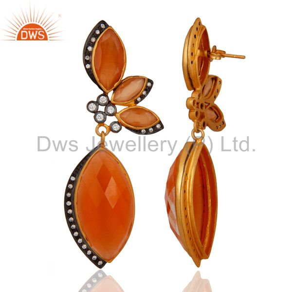 Exporter Peach Moonstone And Cubic Zirconia Fashion Earrings In 18K Gold Plated