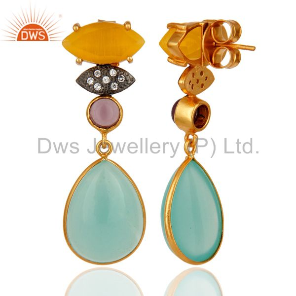 Exporter 22K Gold Plated Blue Chalcedony And Hydro Amethyst Dangle Earrings With CZ