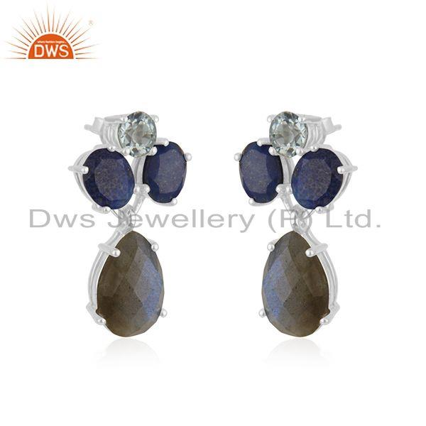 Exporter Natural Labradorite Gemstone 925 Sterling Fine Silver Drop Earrings Wholesale