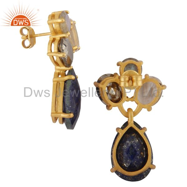Exporter 14K Yellow Gold Plated Silver Pyrite, Crystal Quartz & Lapis Lazuli Drop Earring