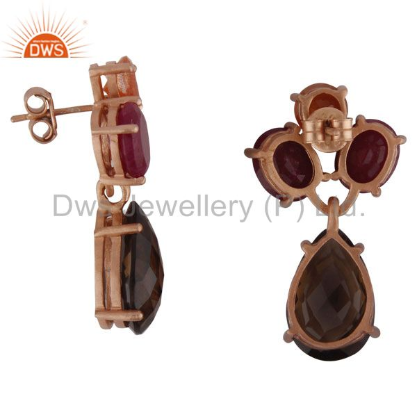 Suppliers 18K Rose Gold Plated Sterling Silver Ruby And Smoky Quartz Cluster Drop Earrings