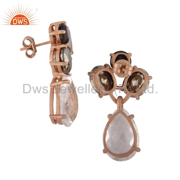 Exporter 18K Rose Gold Plated 925 Silver Pyrite And Crystal Quartz Cluster Drop Earrings