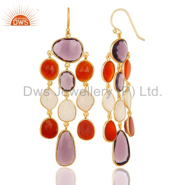 Exporter 14K Gold Plated 925 Sterling Silver Multi Color Stone Chandelier Earrings