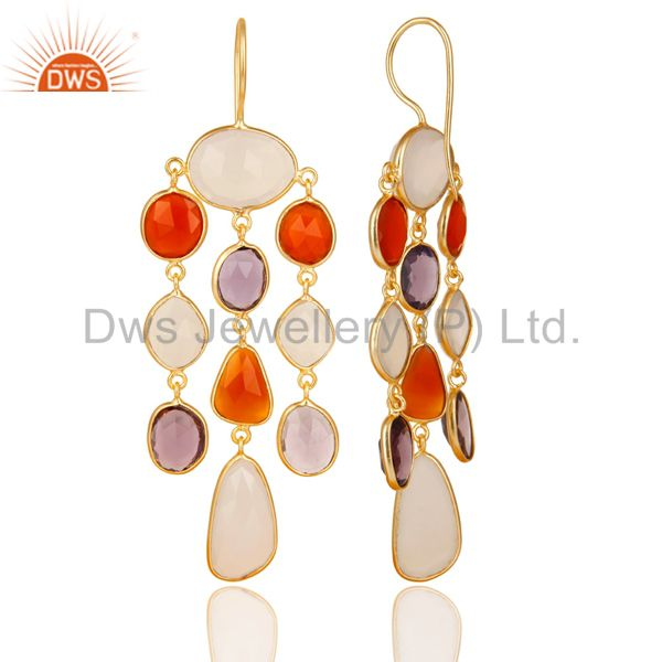 Exporter 14K Gold Plated Sterling Silver Multi Color Stone Chandelier Earrings Jewelry