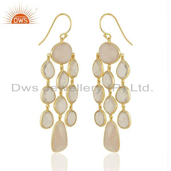 Exporter Rose Quartz Stone Gold Plated Sterling Silver Earrings Manufacturers