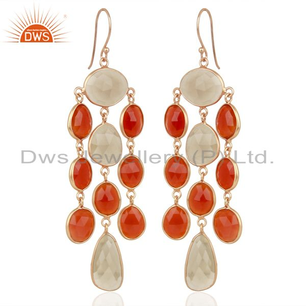 Exporter 18K Rose Gold Plated Sterling Silver Carnelian Smoky Quartz Chandelier Earrings