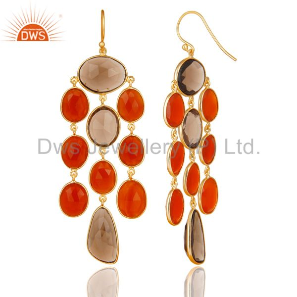 Exporter 18K Gold Plated Sterling Silver Carnelian And Smoky Quartz Chandelier Earrings