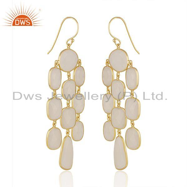 Exporter White Chalcedony Gemstone Gold Plated 925 Silver Earrings Manufacturer