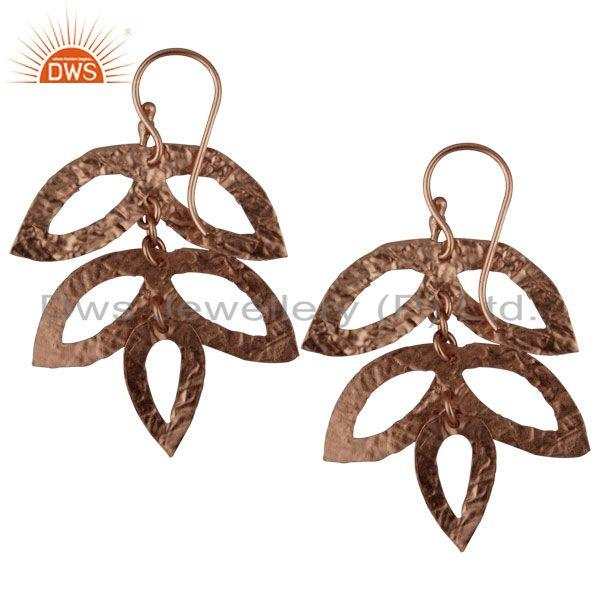Exporter 14K Rose Gold Plated 925 Sterling Silver Handmade Leaf Design Earrings Jewelry