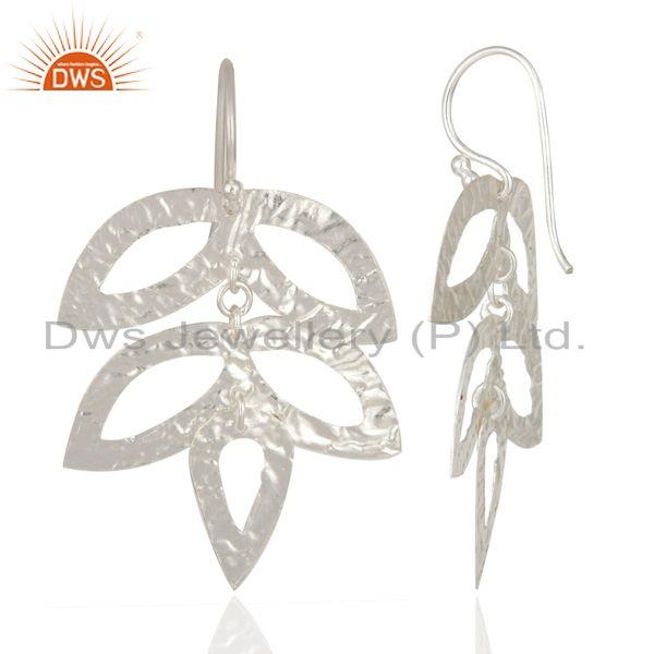 Exporter Tree Leaf Handmade 925 Sterling Silver Silver Plated Texture Earrings Jewelry