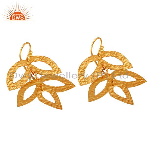 Exporter 14K Yellow Gold Plated 925 Sterling Silver Handmade Leaf Design Earrings Jewelry