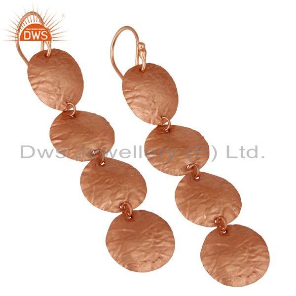 Exporter 18k Rose Gold Plated Sterling Silver  Textured Matte Disc Dangle Wire Earrings