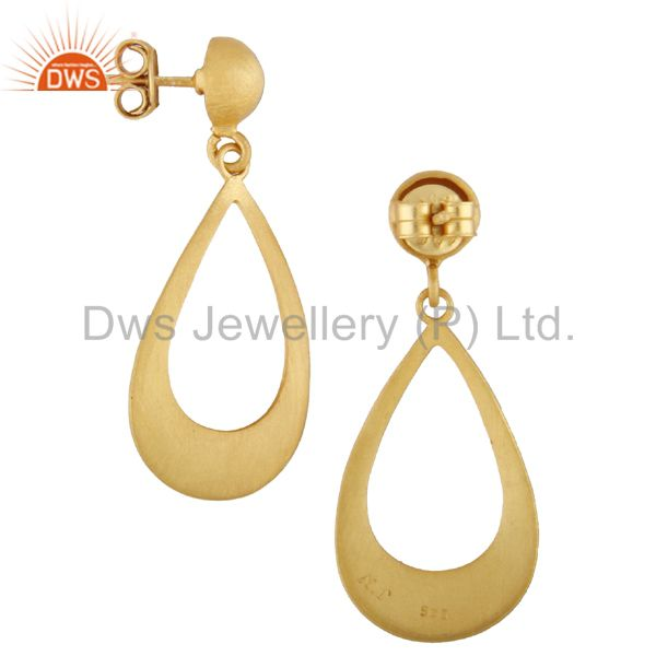 Exporter 22K Yellow Gold Plated Sterling Silver Cutout Teardrop Earrings