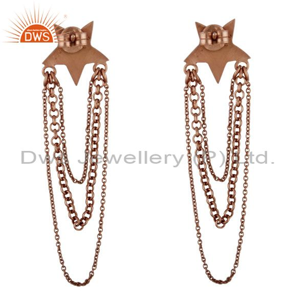Exporter 18K Rose Gold Plated Sterling Silver Star Link Chain Chandelier Earrings