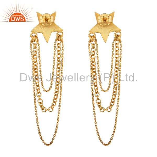 Exporter 22K Yellow Gold Plated Sterling Silver Star Multi Chain Chandelier Earrings