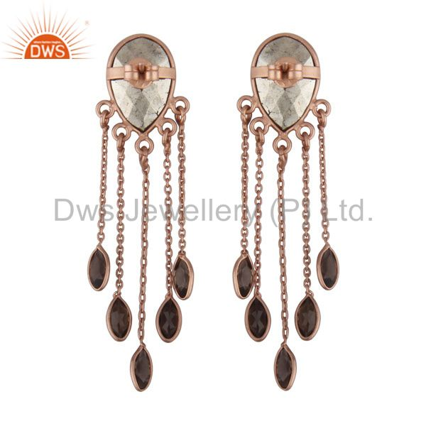 Exporter 18K Rose Gold Plated Sterling Silver Pyrite And Smoky Quartz Chandelier Earrings