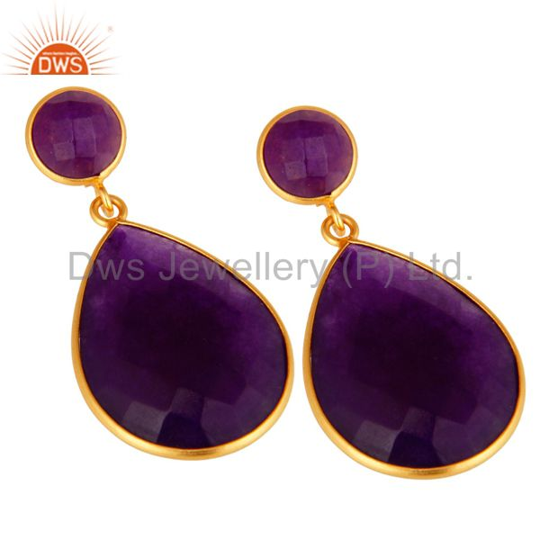 Wholesalers 18K Gold Plated Faceted Purple Chalcedony Sterling Silver Bezel-Set Earrings