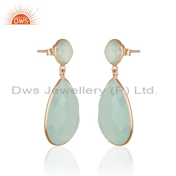 Exporter Aqua Chalcedony Gemstone 925 Silver Rose Gold Plated Drop Earring Manufacturers