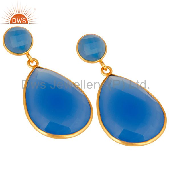 Wholesalers Gold Plated Sterling Silver Faceted Blue Chalcedony Gemstone Bezel Set Earrings