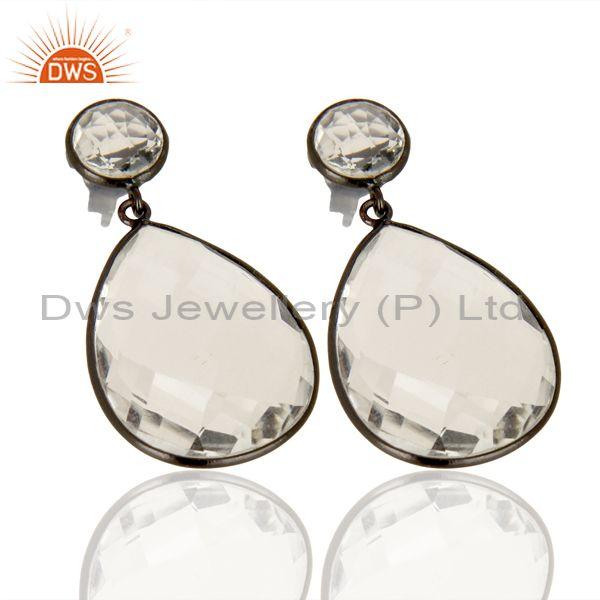 Exporter Crystal Quartz Stud And drop Black Rhodium Plated 92.5 Sterling Silver Earring
