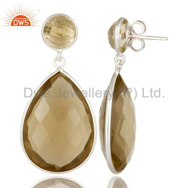 Suppliers 925 Sterling Silver Lemon Topaz Gemstone Bezel Set Double Drop Earrings