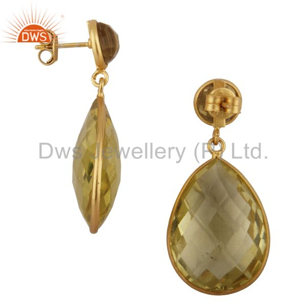 Exporter 18K Yellow Gold Plated Sterling Silver Lemon Topaz Bezel Double Drop Earrings