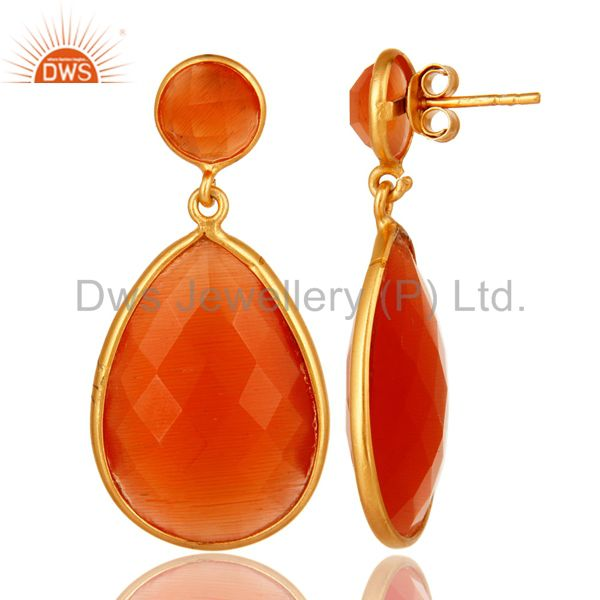 Exporter Faceted Peach Moonstone Double Drop Earrings In 18K Gold Over Sterling Silver