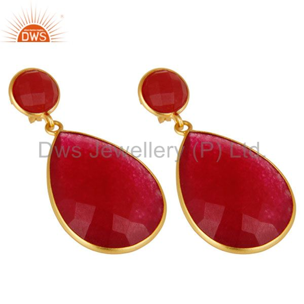 Wholesalers 18K Yellow Gold Plated Sterling Silver Red Aventurine Bezel Set Teardrop Earring