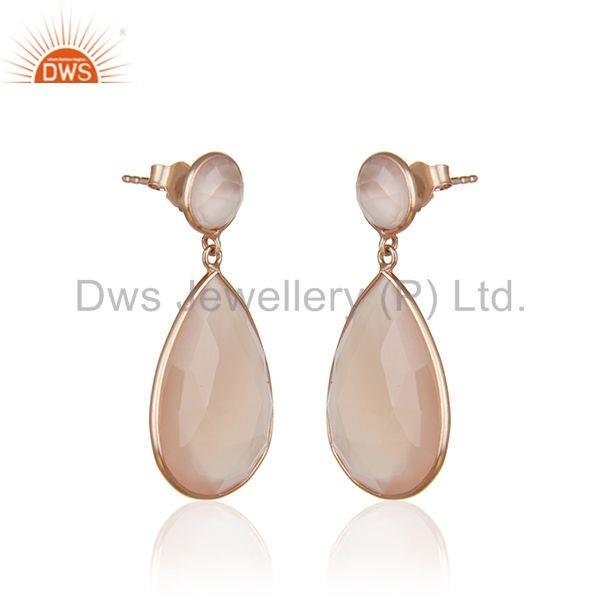 Exporter Rose Chalcedony Gemstone Solid Silver Rose Gold Plated Dangle Earrings Wholesale
