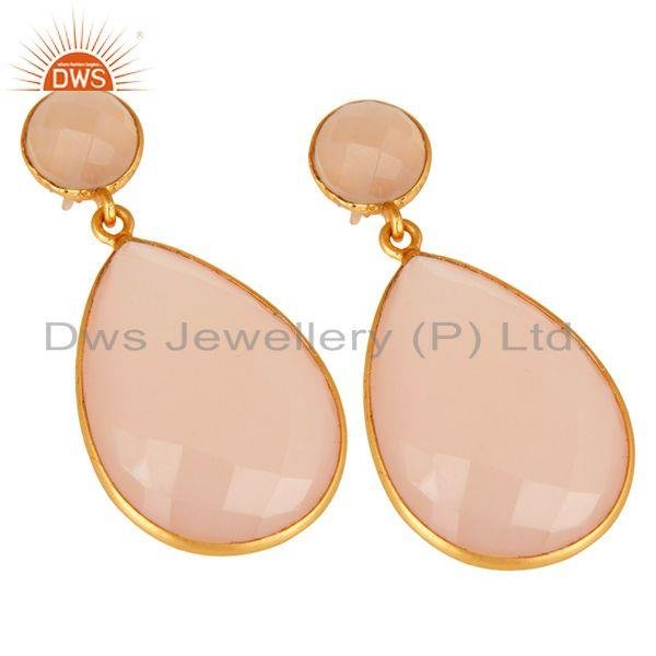 Wholesalers Gold Plated Rose Chalcedony Gemstone Bezel-Set Drop Earrings