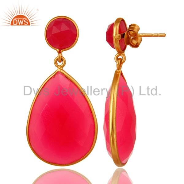 Suppliers Pink Chalcedony Gemstone Double Drop Earrings In 18K Gold On Sterling Silver