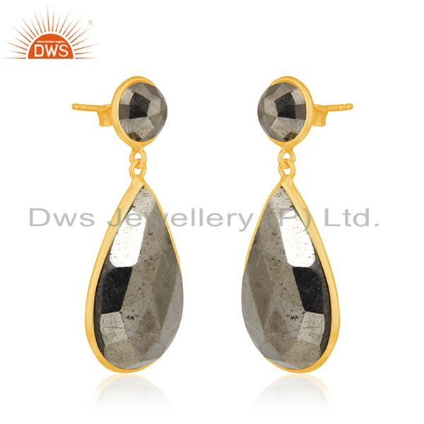 Exporter Pyrite Gemstone Gold Plated 925 Silver Dangle Earrings Manufacturer India