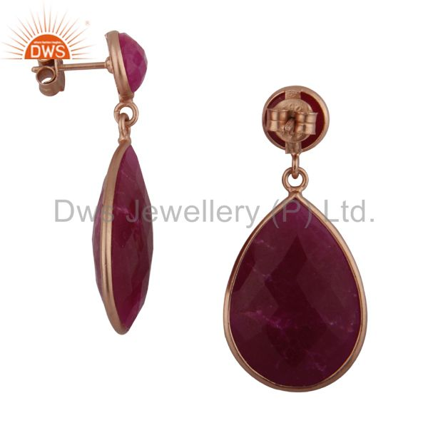 Exporter 18K Rose Gold Plated Sterling Silver Dyed Ruby Bezel Set Double Drop Earrings