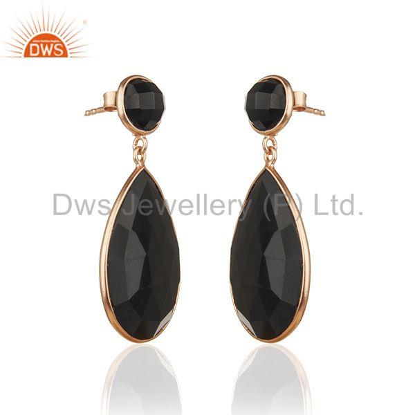 Exporter Rose Gold Plated 925 Silver Black Onyx Gemstone Drop Earrings Manufacturer