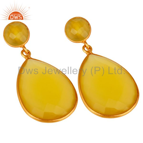 Wholesalers Faceted Teardrop Yellow Moonstone Bezel-Set Drop Earrings In 18K Gold On Silver