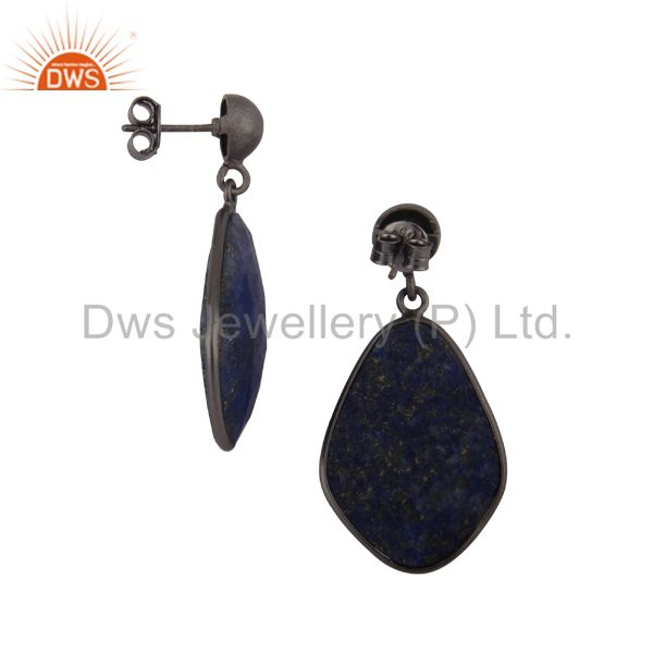 Exporter Oxidized Sterling Silver Lapis Lazuli Faceted Gemstone Bezel Set Drop Earrings
