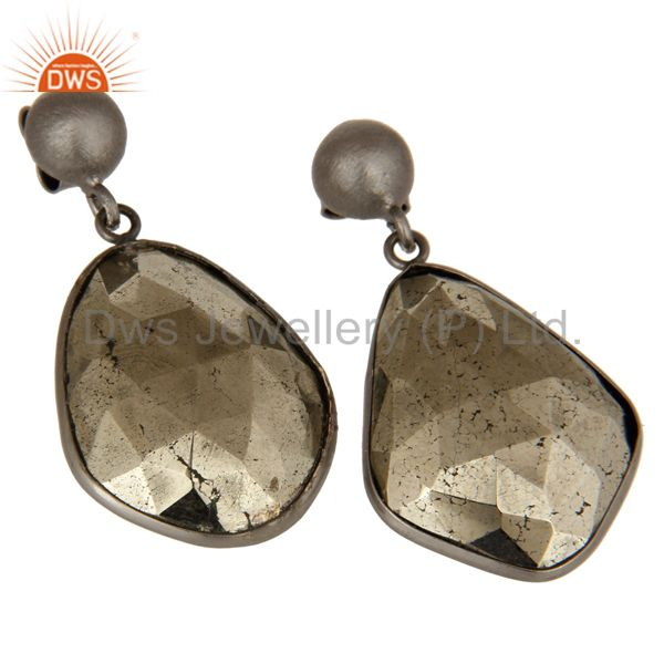 Exporter Oxidized Solid Sterling Silver Faceted Pyrite Gemstone Bezel Set Drop Earrings