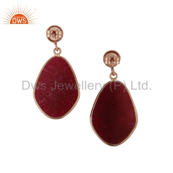 Exporter Faceted Dyed Ruby Gemstone Bezel Set Drop Earrings In 18K Rose Gold Over Silver