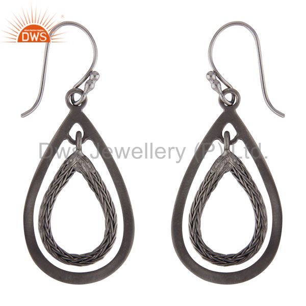 Exporter Handmade 925 Sterling Silver With Oxidized Open Teardrop Dangle Earrings