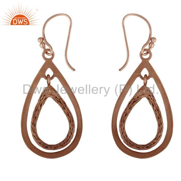 Exporter 18K Rose Gold Plated Sterling Silver Cutout Teardrop Dangle Earrings