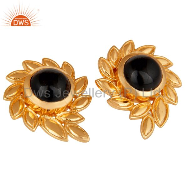 Exporter Handmade Black Onyx Gemstone Stud Earrings With 22k Yellow Gold Plated Jewelry