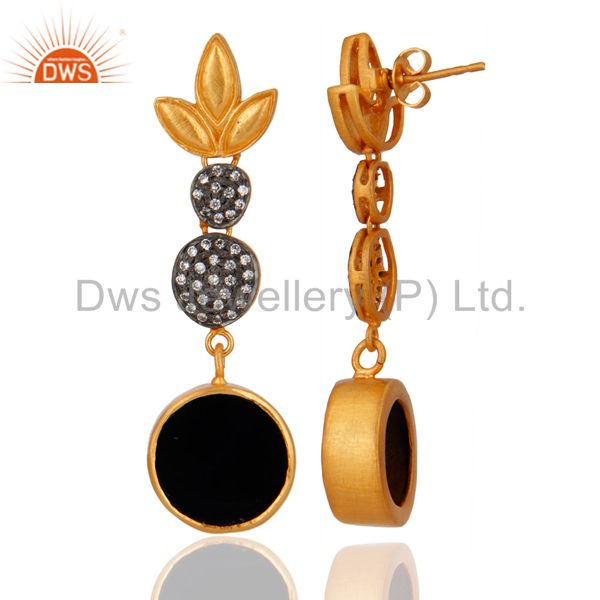Exporter 18k Yellow Gold Plated Brass Black onyx Round White Zircon Women Earrings