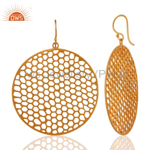 Exporter Handmade 18K Gold Plated Sterling Silver Filigree  Disc Design Dangle Earrings