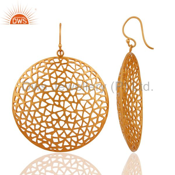 Exporter 18K Yellow Gold Plated Sterling Silver Filigree  Disc Designer Dangle Earrings