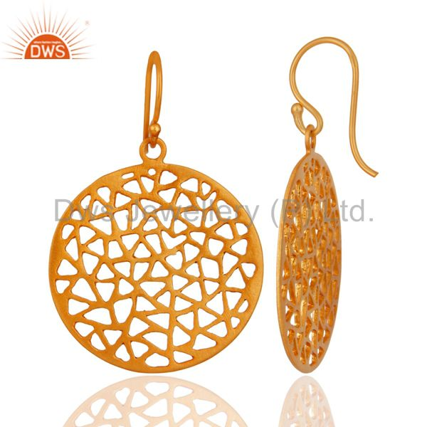 Exporter 18K Yellow Gold Plated Sterling Silver Filigree Designer Disc Dangle Earrings