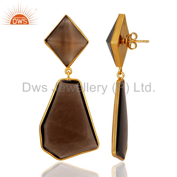 Exporter Gold Plated Sterling Silver Fancy Shape Smoky Quartz Bezel-Set Dangle Earring