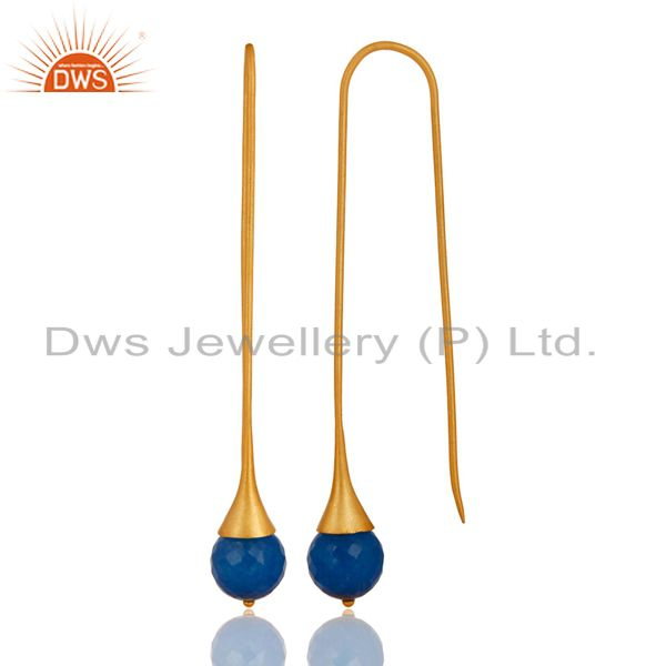 Exporter 18K Gold Plated Sterling Silver Dyed Blue Chalcedony Gemstone Dangle Earrings