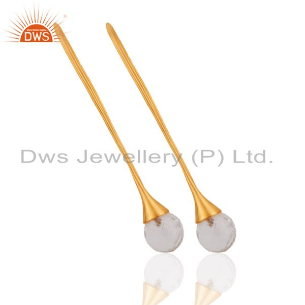 Exporter 18K Yellow Gold Plated Sterling Silver Crystal Quartz Gemstone Dangle Earrings