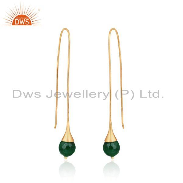 Green aventurine ball long drop earring in yellow gold on silver